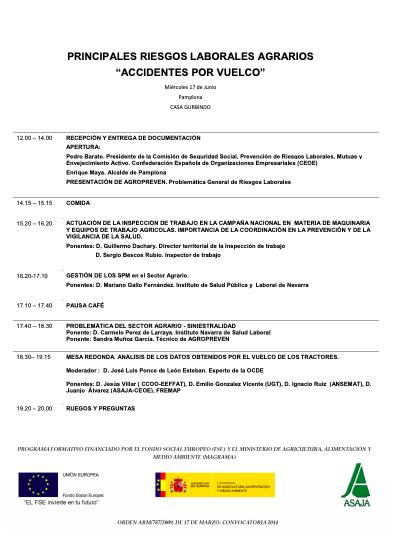 PRÓXIMO SEMINARIO SOBRE LOS PRINCIPALES RIESGOS LABORALES AGRARIOS – NEXT SEMINAR MAIN AGRICULTURAL LABOUR RISK